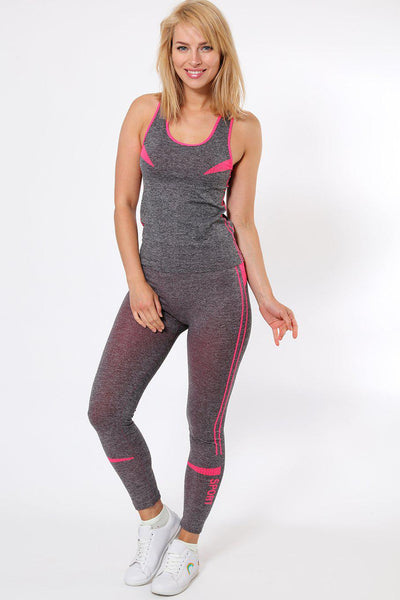Double Pink Stripe Top And Leggings Sports Set-SinglePrice
