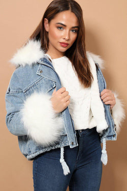 White Faux Fur Oversized Blue Denim Jacket - SinglePrice