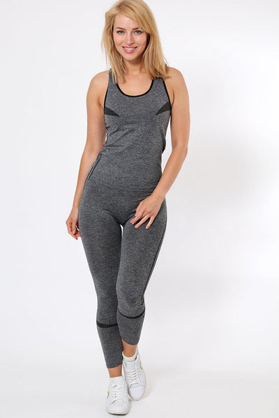 Double Black Stripe Top And Leggings Sports Set-SinglePrice