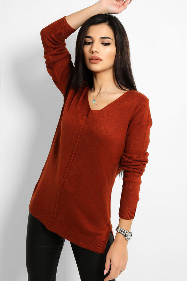 Brown Front Seam V-Neck Flat Knit Pullover