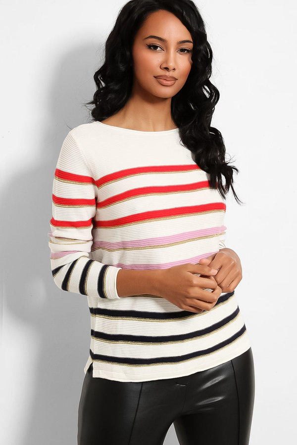 White Multicolour Stripes Pullover-SinglePrice