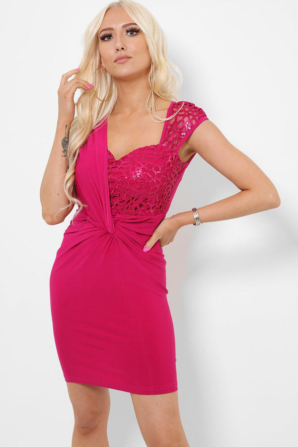 Pink Sequin Top Bodycon Dress-SinglePrice