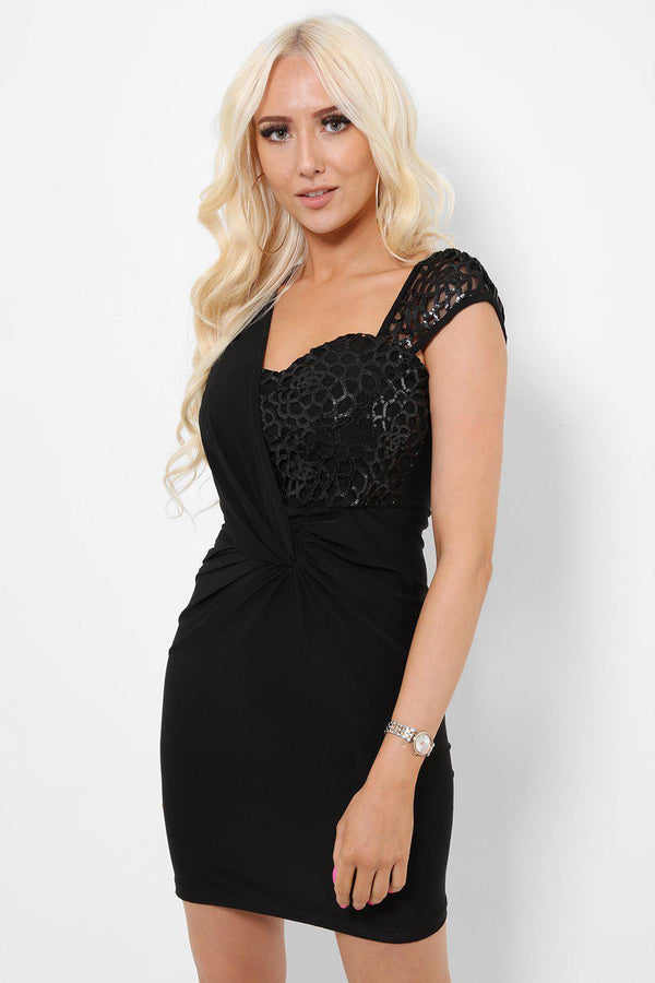 Black Sequin Top Bodycon Dress-SinglePrice