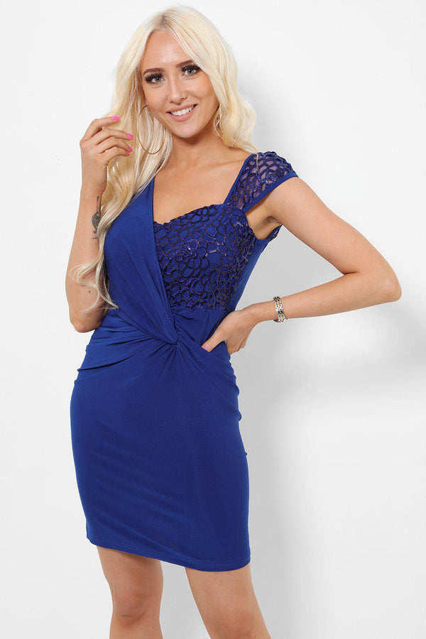 Navy Sequin Top Bodycon Dress-SinglePrice