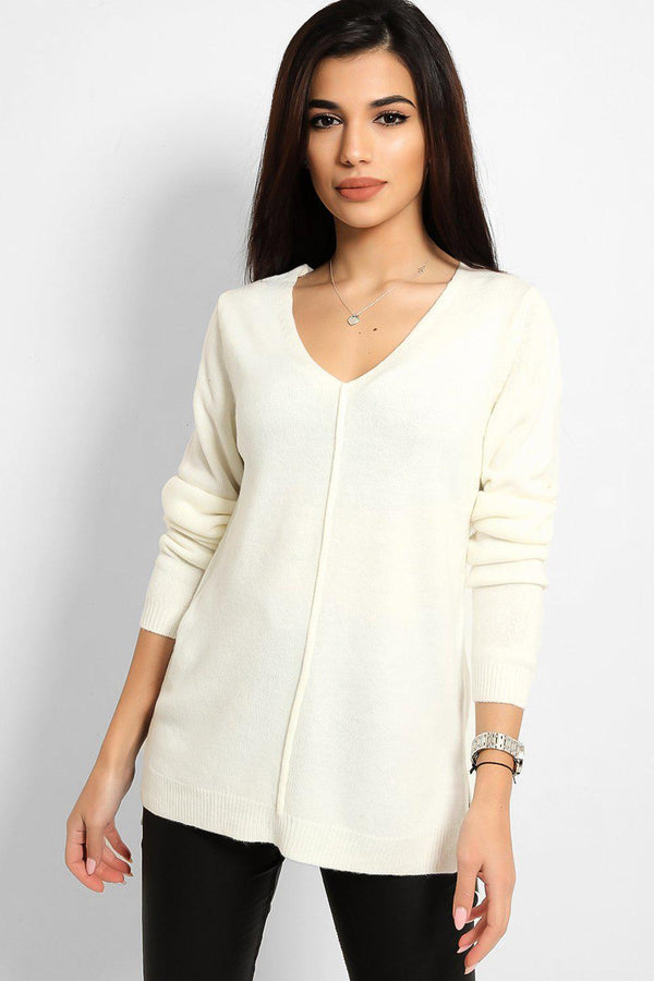 Off White Front Seam V-Neck Flat Knit Pullover