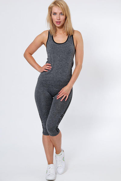Double Black Lines Grey Top And Cropped Leggings Sports Set-SinglePrice