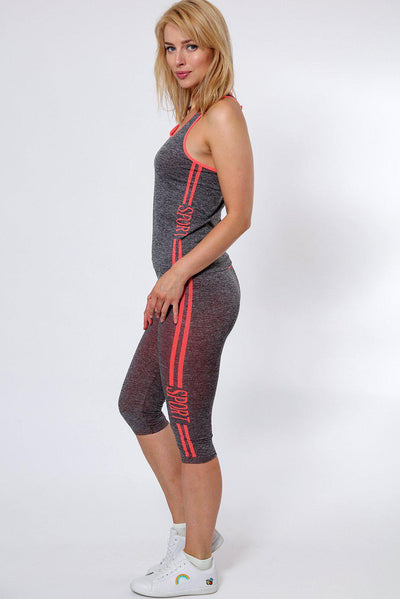 Orange Stripes Grey Top And Cropped Leggings Sports Set-SinglePrice