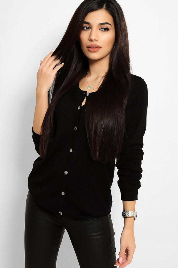 Black Buttons Front Flat Knit Classic Cardigan - SinglePrice