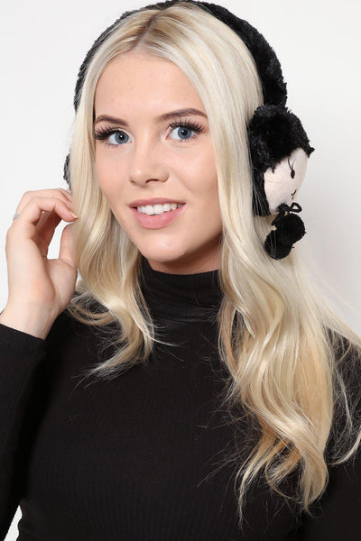 Black Faux Fur Cute Animal Earmuffs-SinglePrice