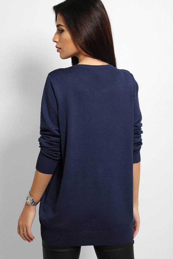 Navy Buttons Front Flat Knit Classic Cardigan