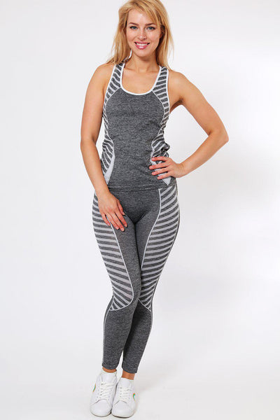 Knee length White Stripes Top And Leggings Sports Set-SinglePrice