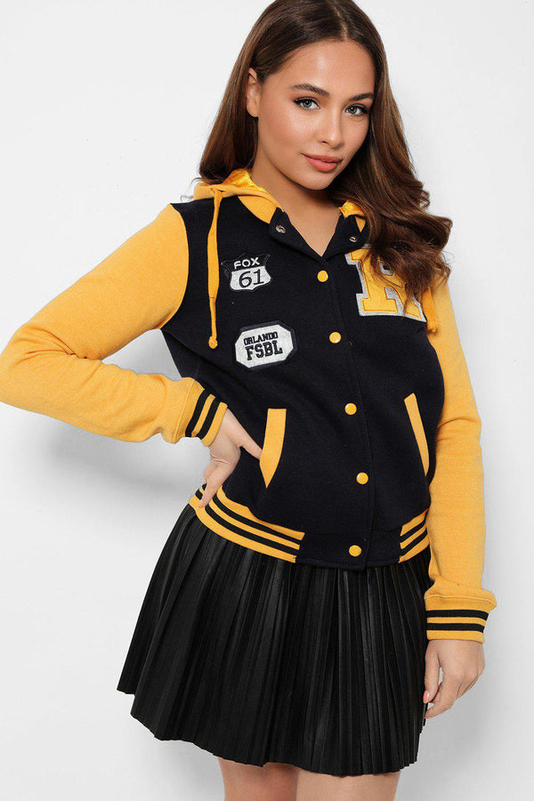 Mustard Panels Navy Varsity Jacket