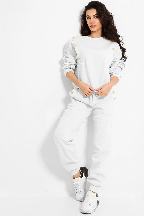 White Gold Button Details Fleece Lined 2 Piece Lounge Set - SinglePrice