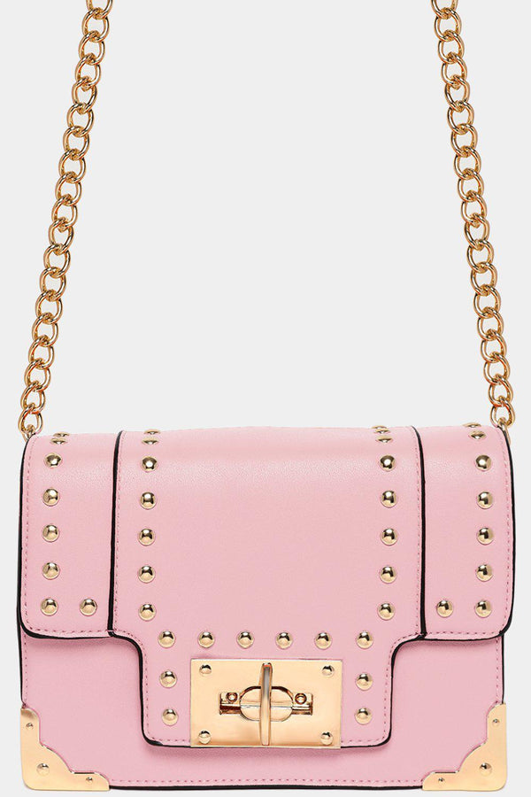 Baby Pink Studded Twist Lock Shoulder Bag-SinglePrice