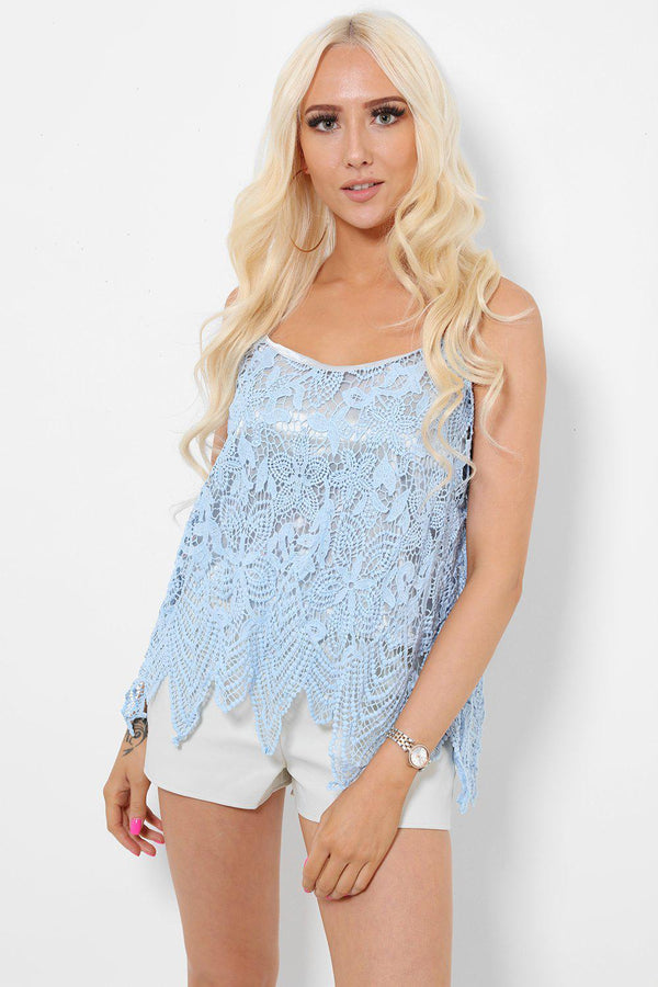 Pearl Straps Light Blue Lace Cami Top-SinglePrice