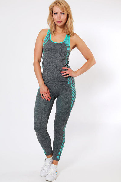 Blue Diagonal Stripes Top And Leggings Sports Set-SinglePrice