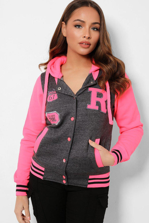 Hot Pink Panels Dark Grey Varsity Jacket