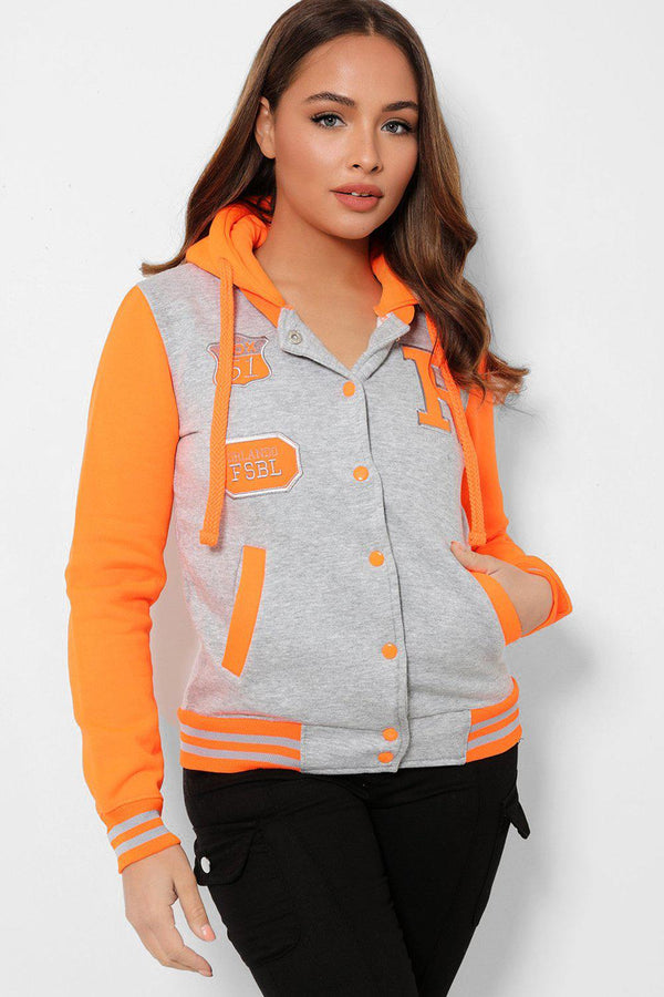 Neon Orange Panels Grey Varsity Jacket-SinglePrice