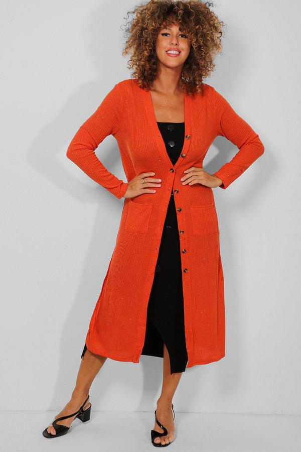 Coral Buttoned Front Shimmer Ribbed Maxi Cardigan - SinglePrice