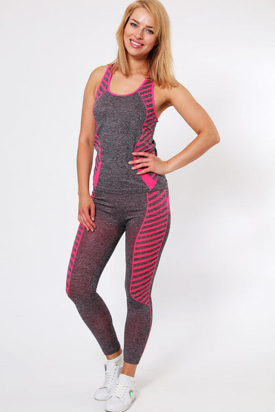 Knee Length Pink Stripes Top And Leggings Sports Set-SinglePrice