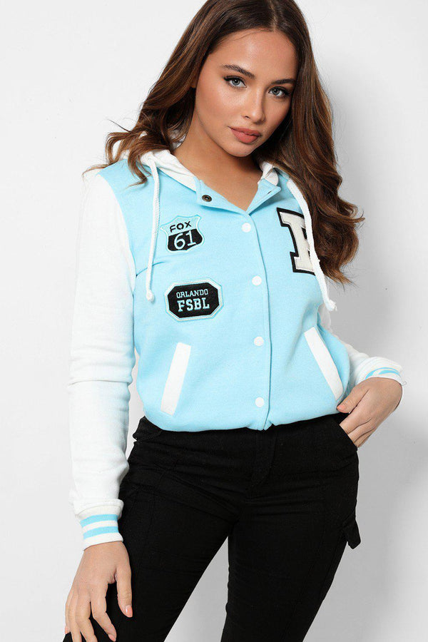 Sky Blue Panels White Varsity Jacket