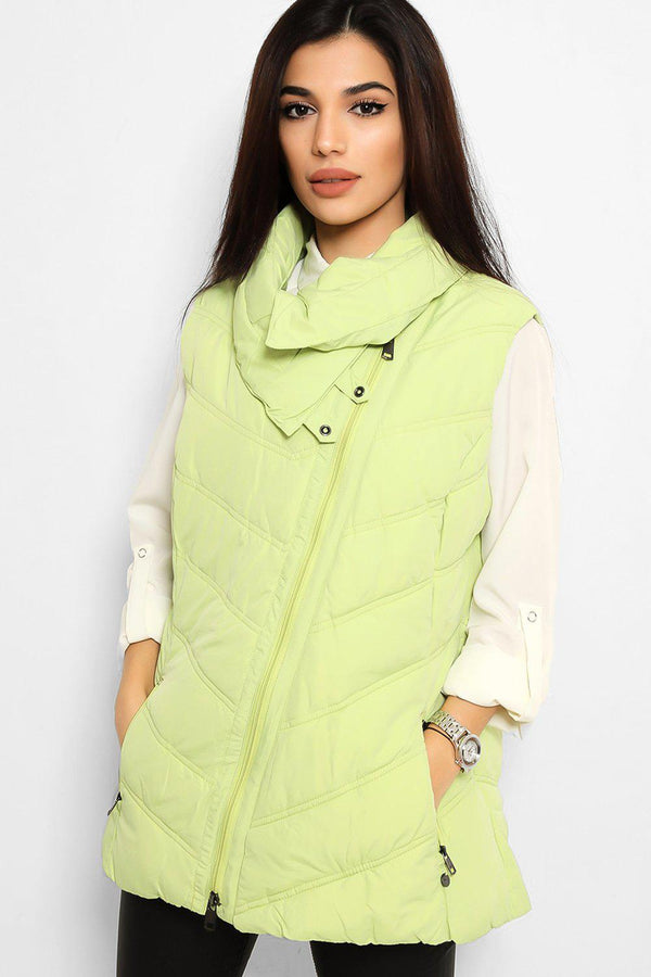 Lime Green Quilted Puffer Gilet
