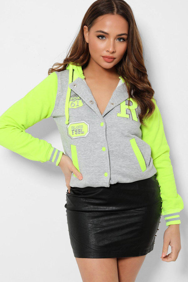 Neon Green Panels Grey Varsity Jacket