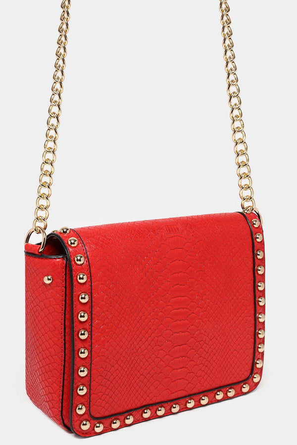 Vegan Snake Skin Dome Studs Red Shoulder Bag-SinglePrice