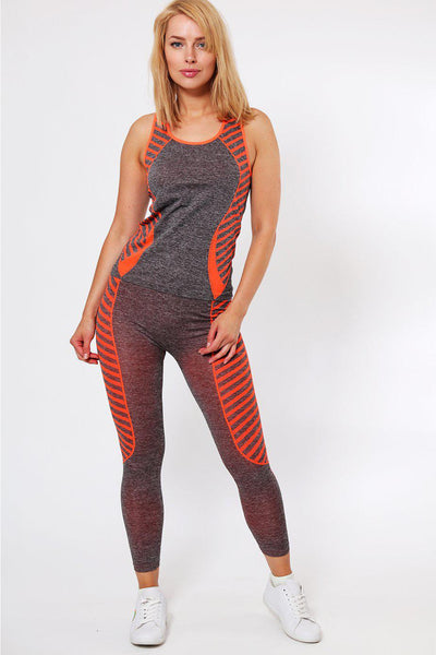 Knee Length Orange Stripes Top And Leggings Sports Set-SinglePrice