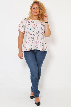 Butterfly Print Pink Top - SinglePrice