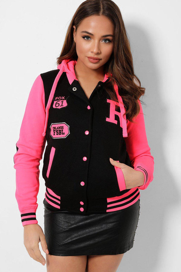 Neon Hot Pink Panels Black Varsity Jacket-SinglePrice