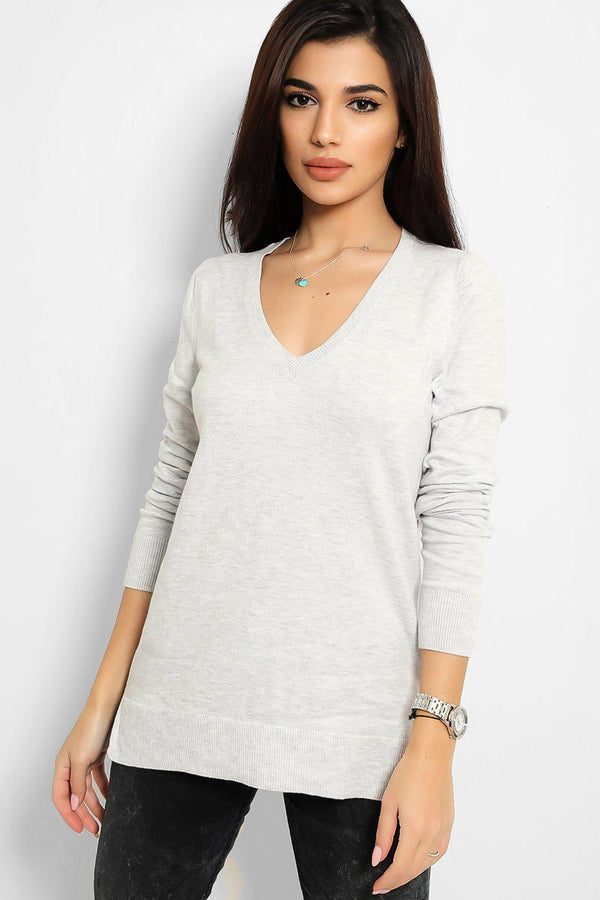 Grey V-Neck Flat Knit Classic Pullover