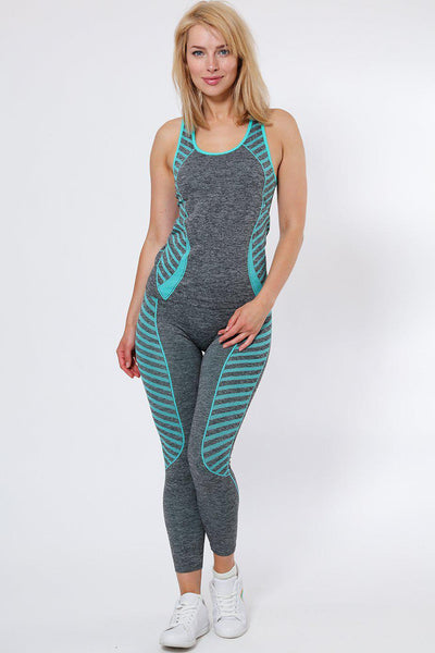 Knee Length Blue Stripes Top And Leggings Sports Set-SinglePrice