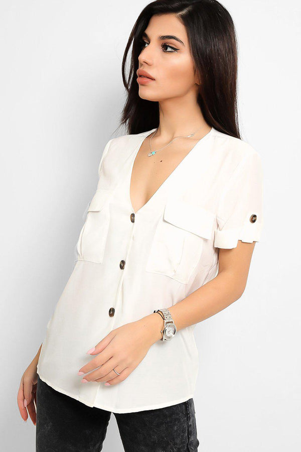 Off White Contrast Buttons V-Neck Shirt Top - SinglePrice