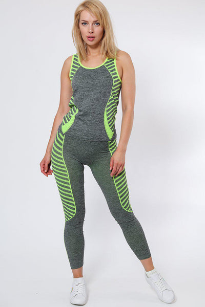 Knee Length Green Stripes Grey Top And Leggings Sports Set-SinglePrice