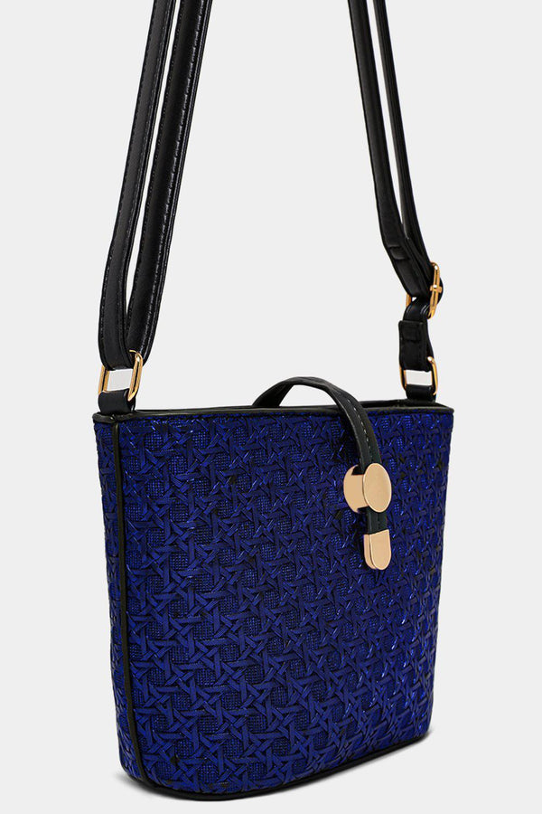 Metallic Blue Woven Mini Shoulder Bucket Bag - SinglePrice