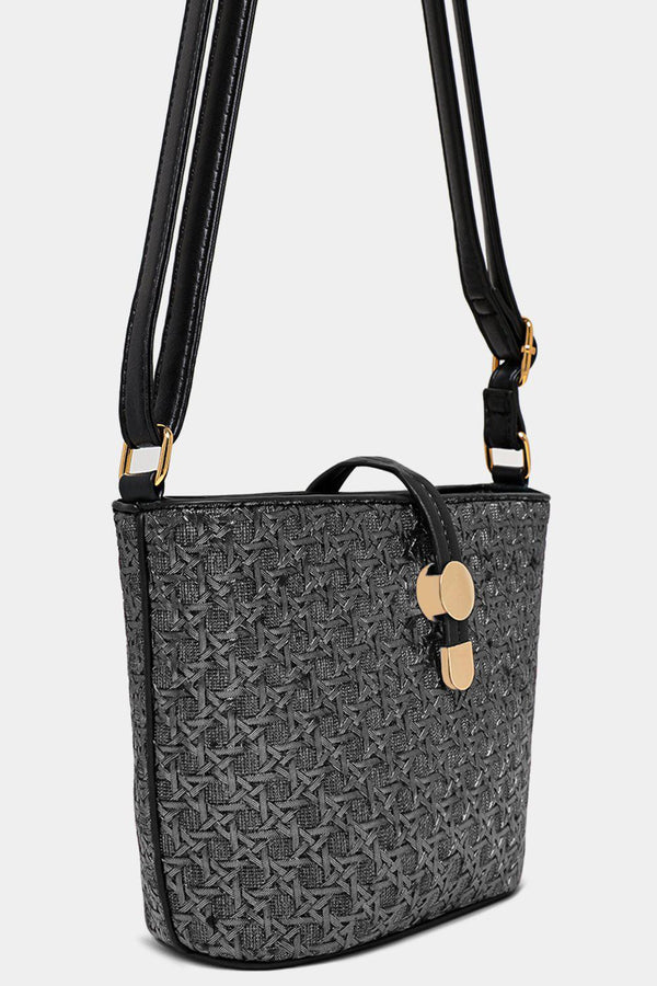 Metallic Grey Woven Mini Shoulder Bucket Bag - SinglePrice