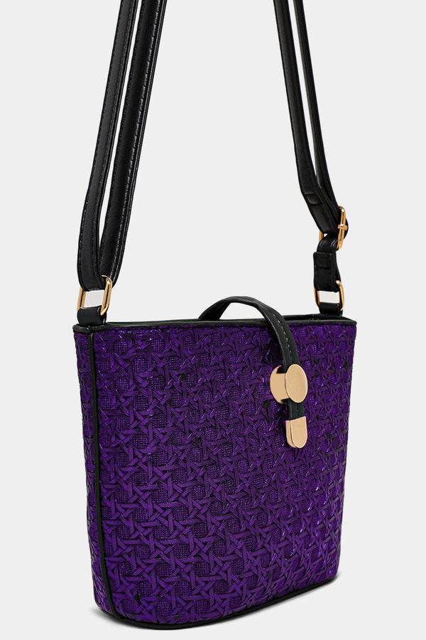 Metallic Purple Woven Mini Shoulder Bucket Bag - SinglePrice