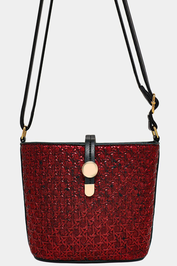 Metallic Red Woven Mini Shoulder Bucket Bag - SinglePrice
