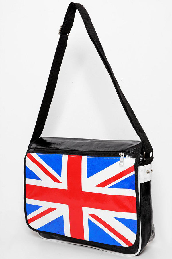 Union Jack Flap Large Black Messenger - SinglePrice