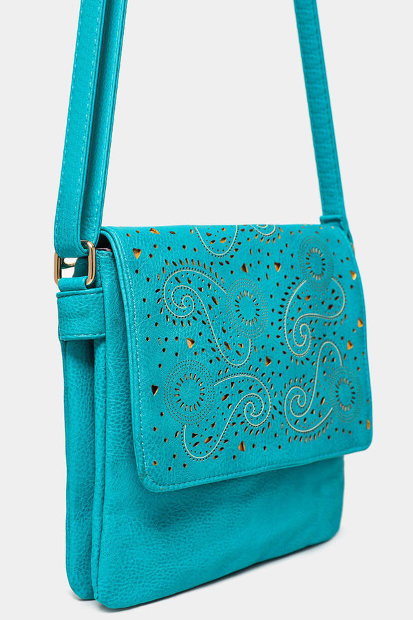 Gold Paisley Laser Cut Blue Mini Messenger Bag - SinglePrice