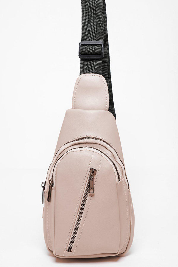 Asymmetric Zip Small Cream One Shoulder Backpack-SinglePrice