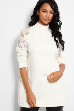 White Delicate Lace Sleeve Motive Soft Knit Longline Pullover - SinglePrice