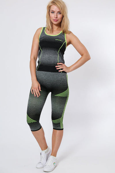 Black And Green Stripes Top And Cropped Leggings Sports Set-SinglePrice