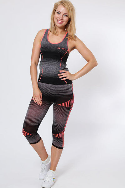 Black And Pink Stripes Top And Cropped Leggings Sports Set-SinglePrice