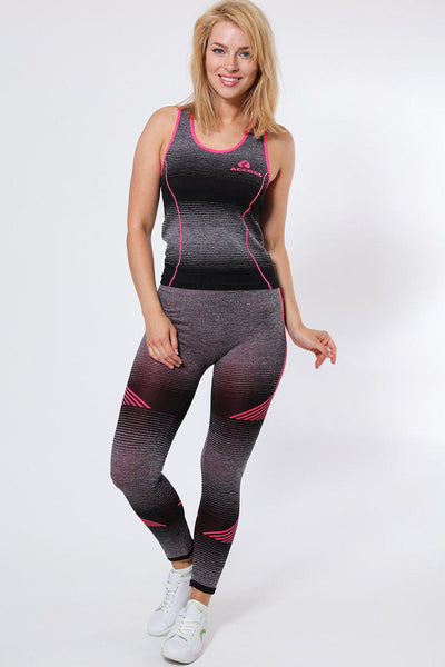 Black And Grey Stripes Top And Leggings Sports Set-SinglePrice