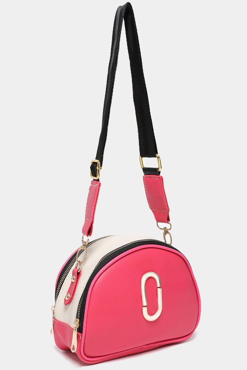 Double Gold Zips Dark Pink Handbag-SinglePrice