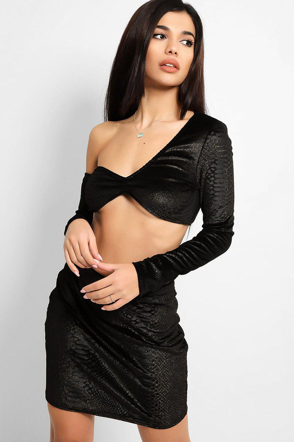 Black Shimmer Python Print Velvet Top And Skirt Set