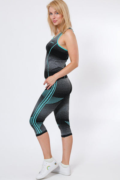 Black And Blue Stripes Top And Cropped Leggings Sports Set-SinglePrice
