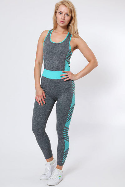 Blue Stripes & Honeycomb Print Top And Cropped Leggings Sports Set-SinglePrice